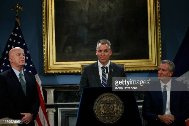 Chief of Detectives Dermot Shea speaks during a press conference announcing that will be the new NYPD Commissioner taking the position of James...