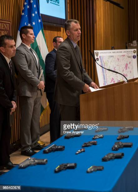 Chief of Detectives Dermot Shea speaks during a press conference about gang violence at New York City Police Department headquarters June 27 2018 in...