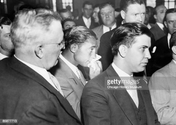 Chief of Detectives William Shoemaker gangster Jack McGurn and Attorney Ben Feldman in court Chicago ca1929