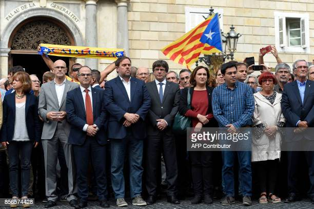 Chief of Foreign Affairs Institutional Relations and Transparency Raul Romeva Catalan government spokesman Jordi Turull leader of the leftwing party...
