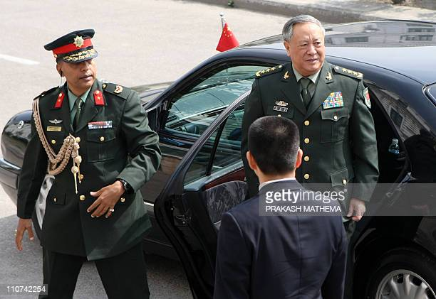 Chief of general staff of China's People's Liberation Army General Chen Bingde steps out of a car as he arrives to visit Nepalese Prime Minister...