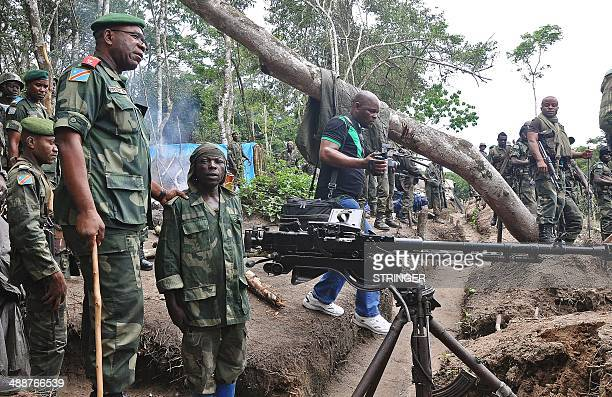 Chief of general staff of the Armed Forces of the Democratic Republic of Congo Lieutenant General Didier Etumba Longila meets with members of the...