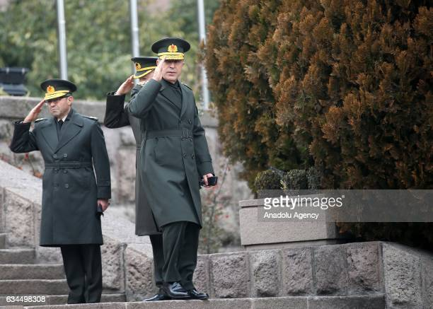 Chief of General Staff of Turkey Hulusi Akar prepares to welcome British Chief of the Defence Staff Stuart Peach with an official welcoming ceremony...