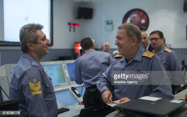 Chief of General Staff of Turkish Armed Forces Gen Hulusi Akar is being briefed at Turkish Naval Forces Center for Surveillance and Coordination...