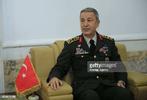 Chief of General Staff of Turkish Armed Forces Gen Hulusi Akar meets with Iraqi Army Chief of Staff Gen Othman alGhanimi and Secretary of Defense of...