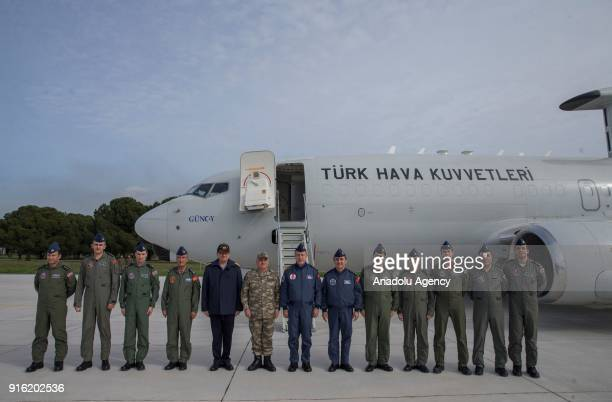 Chief of General Staff of Turkish Armed Forces Gen Hulusi Akar poses for a photo during the inspection of the activities of Turkish Land Forces and...