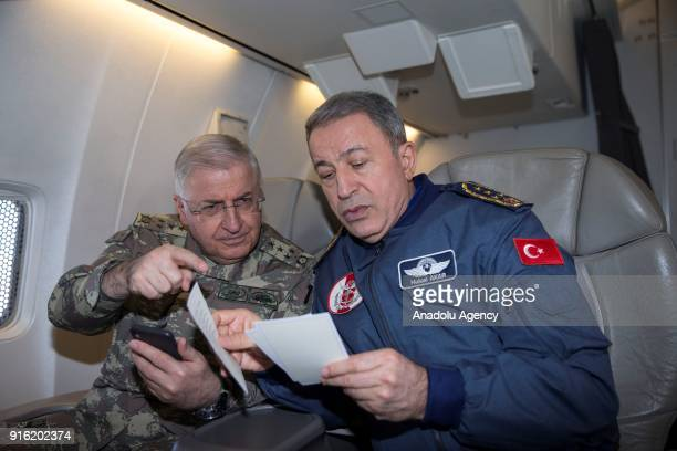 Chief of General Staff of Turkish Armed Forces Gen Hulusi Akar inspects the activities of Turkish Land Forces and Turkish Air Forces units who take...