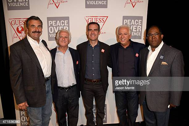 Chief of LAPD Charlie Beck Chairman of the Board of GUESS Inc Maurice Marciano Los Angeles Mayor Eric Garcetti CEO and Creative Director of GUESS Inc...