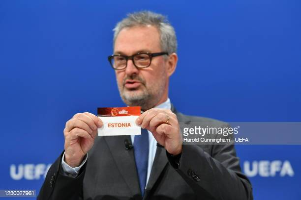 Chief of Men's Football and Deputy Director Football Lance Kelly draws out the card of Estonia during the UEFA European Under-17 Championship 2021/22...