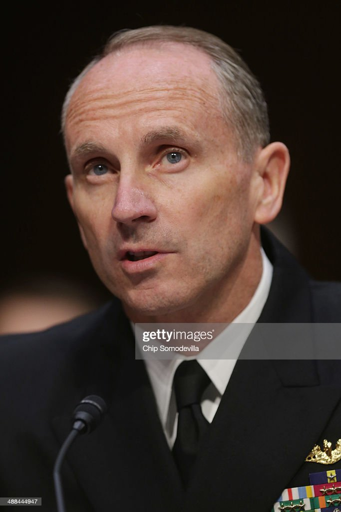 Chief of Naval Operations Adm. Jonathan Greenert testifies before the Senate Armed Services Committee with other members of the U.S. military Joint Chiefs of Staff on Capitol Hill May 6, 2014 in Washington, DC. Joined by senior enlisted officers, the Joint Chiefs testified about proposals relating to military compensation.