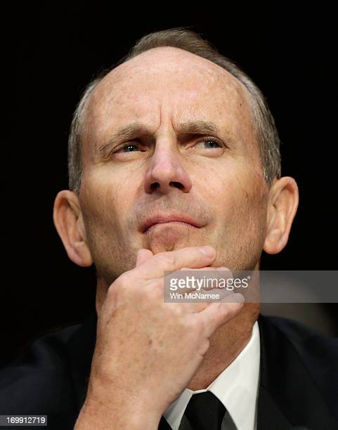 Chief of Naval Operations Adm Jonathan Greenert testifies with US military leaders before the Senate Armed Services Committee on pending legislation...
