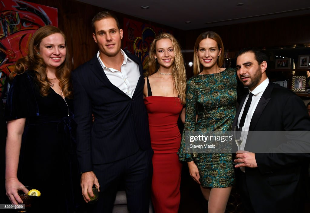 Chief of Organizational Integration and Advancement of All Hands and Hearts Olga Ruggiero, Tom Davis, Hannah Ferguson, Model, co-founder and vice chair of All Hands and Hearts Petra Nemcova and Nick Andreottola attend Status Luxury Group presents The Art of Giving at Domenico Vacca on December 19, 2017 in New York City.
