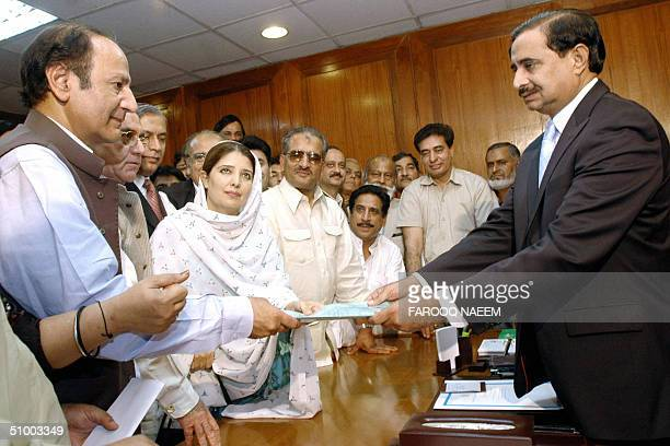 Chief of Pakistan Muslim League Caudhry Shujaat Hussain files his nomination papers to the Secretary of the National Assembly Mahmood Salim Chaudry...