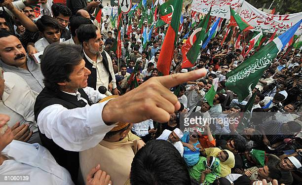 Chief of Pakistan Tehreek-e-Insaf Imran Khan addresses an anti-President Pervez Musharraf protest rally in Lahore on May 12, 2008. Former Pakistani...