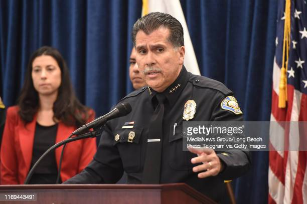 Chief of Police Robert G. Luna speaks to the media announcing the arrest of 37-year-old Rodolfo Montoya for making threats of violence against his...