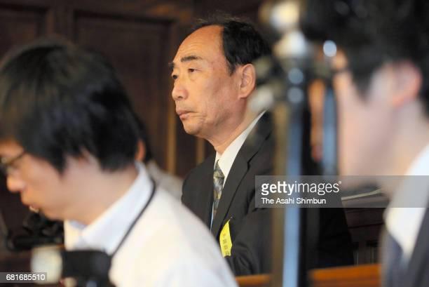 Chief Of Private School Operator Moritomo Gakuen Yasunori Kagoike observes a lower house budget committee during the Asahi Shimbun interview on May 8...