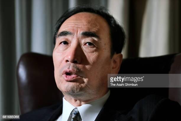 Chief Of Private School Operator Moritomo Gakuen Yasunori Kagoike speaks during the Asahi Shimbun interview on May 8 2017 in Tokyo Japan