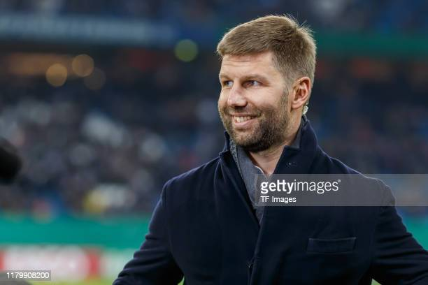 Chief of sport Thomas Hitzlsperger of VfB Stuttgart looks on prior to the DFB Cup second round match between Hamburger SV and VfB Stuttgart at...