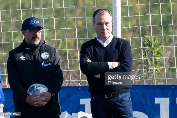 Chief of sports Clemens Toennies of FC Schalke 04 and head coach David Wagner of FC Schalke 04 looks on during the FC Schalke 04 winter training camp...