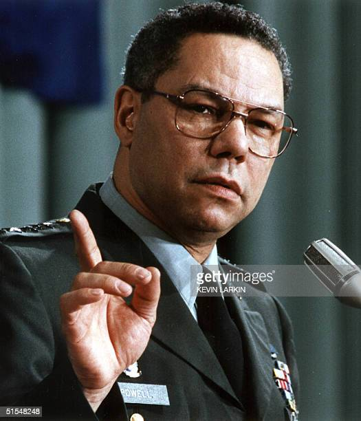 Chief of Staff Colin Powell speaks at a luncheon hosted by the American Public Affairs Committee 19 March 1991 Washington DC AFP PHOTO/Kevin LARKIN