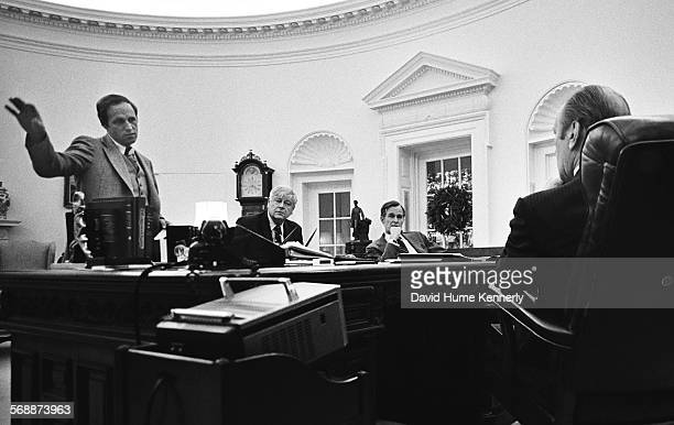 Chief of Staff Dick Cheney Interior Secretary Rogers Morton and President Gerald R Ford meet with US Representative to the People's Republic of China...