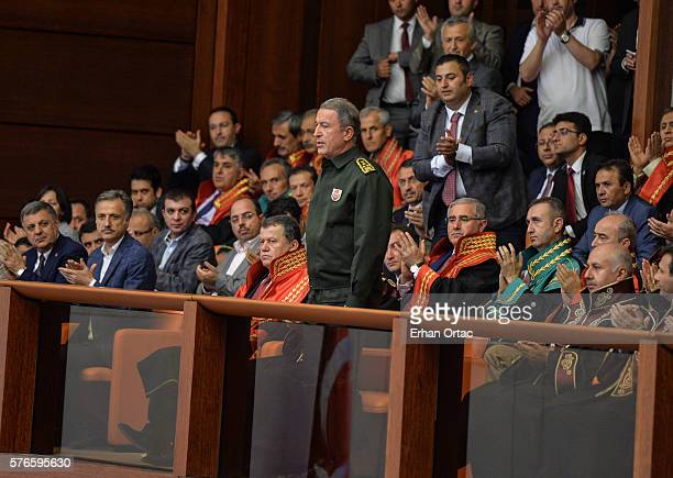 Chief of Staff General Hulusi Akar attends the Turkish parliament convenes for extraordinary session following the failed coup attempt on July 16,...