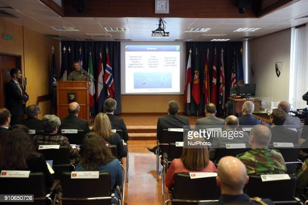 Chief of staff General Karsten Hackel delivers a speech during the NATO Secretary General Jens Stoltenberg visit to the Naval Striking and Support...