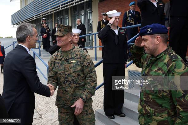 Chief of staff General Karsten Hackel welcomes NATO Secretary General Jens Stoltenberg during a visit to the Naval Striking and Support Forces NATO...