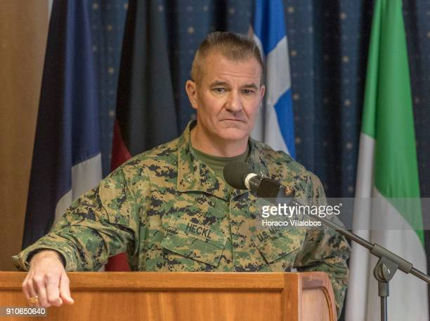Chief of Staff of Naval Striking and Support Forces NATO US Marines Brigadier General Karsten Heckl briefs NATO Secretary General Jens Stoltenberg...