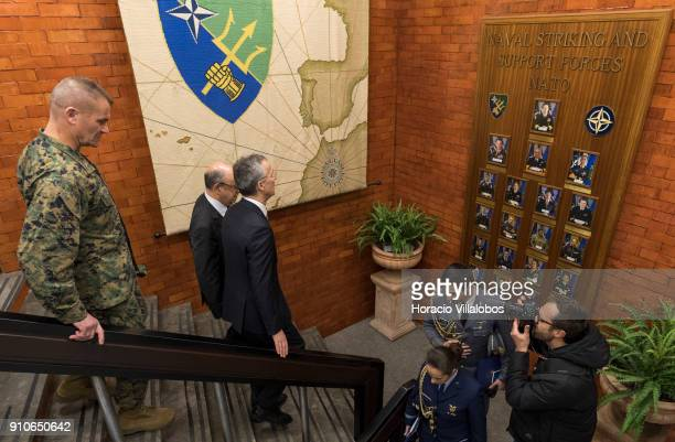 Chief of Staff of Naval Striking and Support Forces NATO US Marines Brigadier General Karsten Heckl follows NATO Secretary General Jens Stoltenberg...