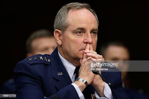 Chief of Staff of the Air Force Gen Mark Welsh III testifies with US military leaders before the Senate Armed Services Committee on pending...