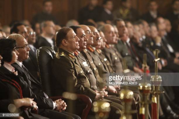 Chief of Staff of the Egyptian armed forces Sami Anan attends the Coptic Christmas midnight mass at Abbassiya Cathedral in Cairo on January 6 2012 A...