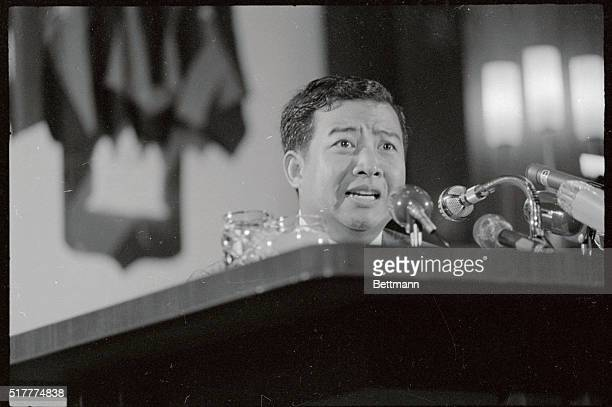 Chief of State Prince Sihanouk of Cambodia tells newsmen emphatically that Mrs. John F. Kennedy's visit here is not a prelude to negotiations for...