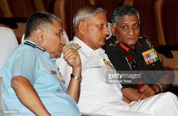 Chief of the Air Staff Air Chief Marshal PV Naik Navy chief Admiral Nirmal Verma Army chief's General VK Singh's during the NDC Golden Jubilee...