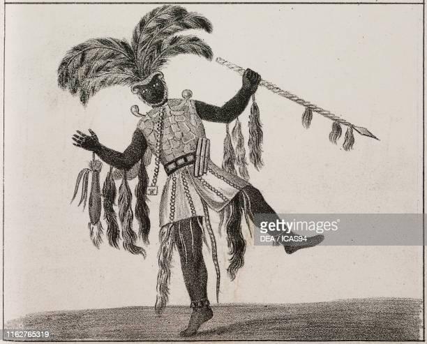 Chief of the Ashanti tribe Ghana Africa lithograph from Galleria universale di tutti i popoli del mondo ossia storia dei costumi religioni riti...