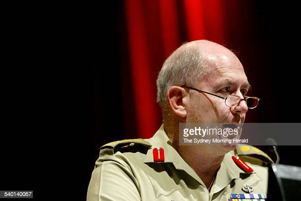 Chief of the Australian Defence Force MajorGeneral Peter Cosgrove speaks at the joint future warfighting conference held at the National Convention...
