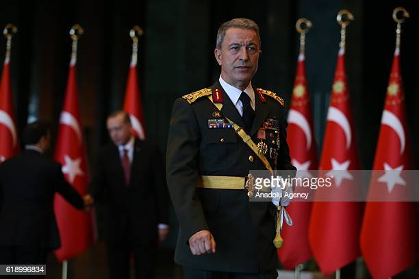 Chief of the General Staff of the Turkish Armed Forces, Hulusi Akar is seen prior to a ceremony marking the 93rd Anniversary of Republic Day on...