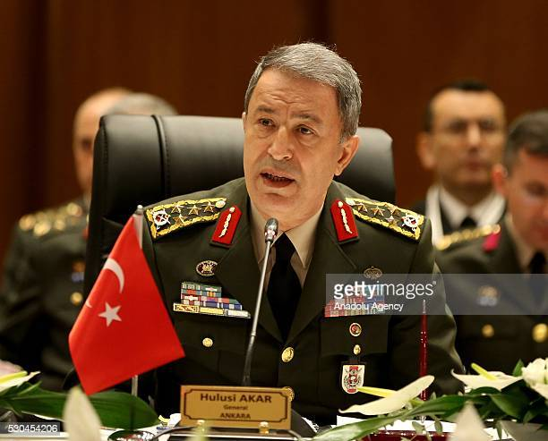 Chief of the General Staff of the Turkish Armed Forces Hulusi Akar makes an opening speech during Balkan Chiefs of Defence Conference at Hilton...