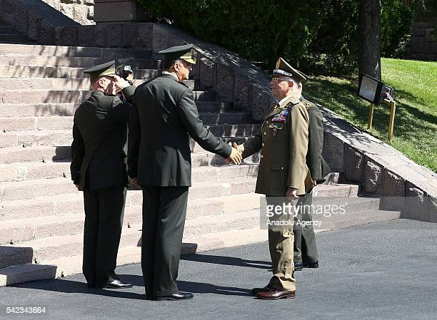 Chief of the General Staff of the Turkish Armed Forces Hulusi Akar welcomes Chief of the Army General Staff of the Italian Army Claudio Graziano with...
