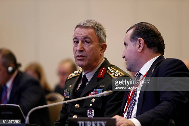 Chief of the General Staff of the Turkish Armed Forces Hulusi Akar and Special Rapporteur of Turkey Osman Askin Bak take part in the meeting of the...