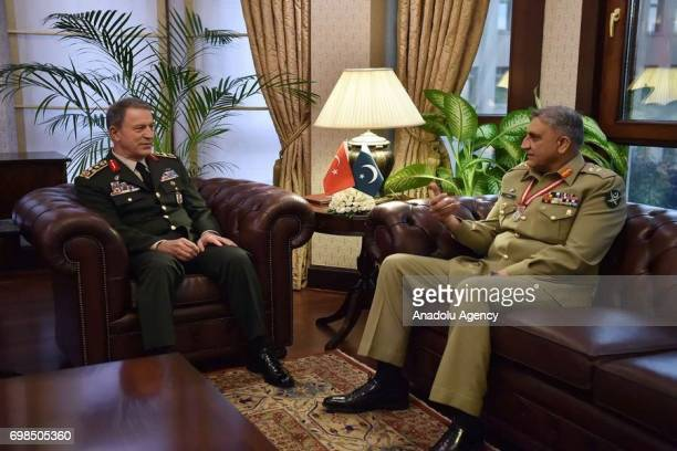 Chief of the General Staff of the Turkish Armed Forces Hulusi Akar meets with Pakistan Army Chief General Qamar Javed Bajwa in Ankara Turkey on June...