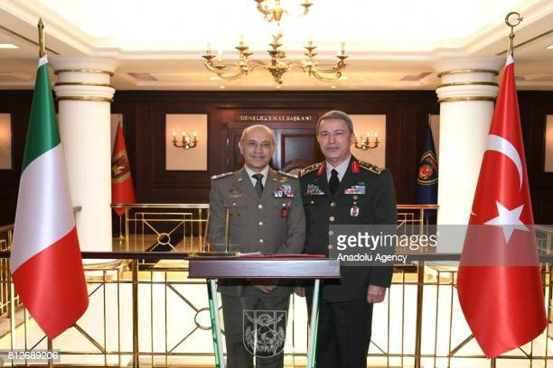 Chief of the General Staff of the Turkish Armed Forces Hulusi Akar receives Chief of Staff of the Italian Army Danilo Errico at General Staff...