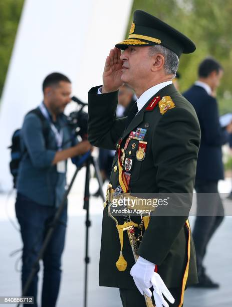 Chief of the General Staff of the Turkish Armed Forces Hulusi Akar takes part in the ceremony to mark 95th Anniversary of Turkeys Victory Day which...