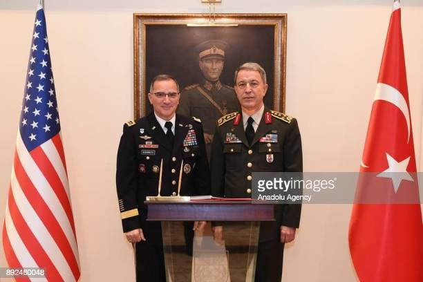 Chief of the General Staff of the Turkish Armed Forces Hulusi Akar and US European Command Commander Gen Curtis Scaparrotti pose for a photo during...