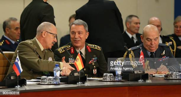 Chief of the General Staff of the Turkish Armed Forces Hulusi Akar attends the 178th Military Committee in Chiefs of Defense Session of NATO in...