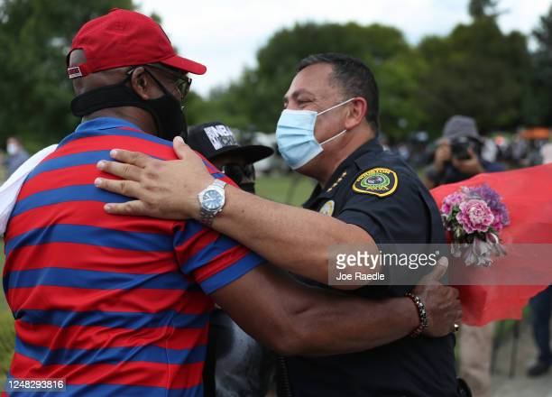 Chief of the Houston Police Department,Art Acevedo, greets people standing in line to attend the public viewing of George Floyd at the Fountain of...