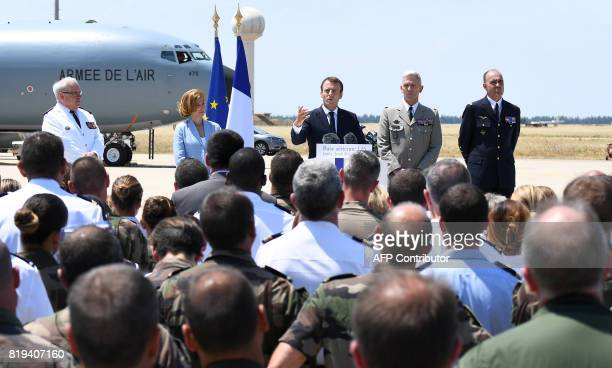 Chief of the Military Staff of the President of the Republic Amiral Bernard Rogel Defence Minister Florence Parly and newly appointed French chief of...