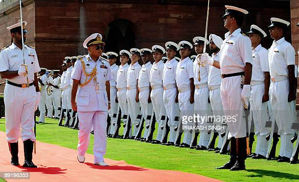 Chief of the Naval Staff Bangladesh Navy Rear Admiral Zahir uddin Ahmed inspects a Guard of Honour prior to a meeting with Indian Navy chief Admiral...