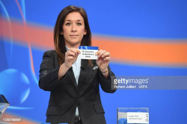 Chief of Women's Football Nadine Kessler draws out the card of FC Girondins de Bordeaux during UEFA Women's Champions League 2021/22 Round 1 draw at...