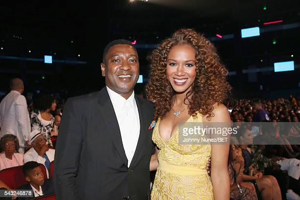 Chief Operating Officer at Parkwood Entertainment Steve Pamon and basketball analyst Rosalyn GoldOnwude attend the 2016 BET Awards at the Microsoft...